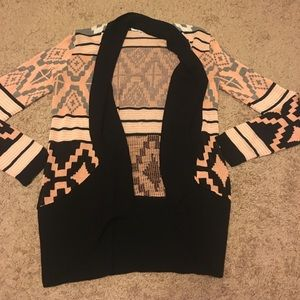 Sweaters - Black and pink cardigan