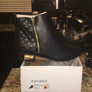 BRAND NEW, NEVER WORN booties w/metallic gold heel