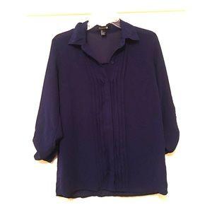 🎀 Purple Sheer Button Down Blouse