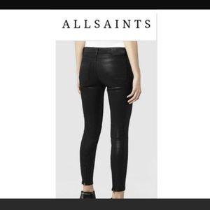 All saints wax coated black skinny jeans 🎁