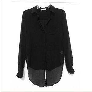 🎀 Sheer Black Button Down Blouse