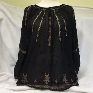 Lucky Brand Black Sheer Embroidered Top Size 1X