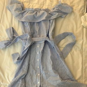 Off the shoulder pinstriped midi dress with ruffle