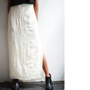 Off White Long Beaded Skirt