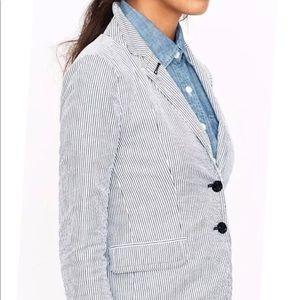 J. Crew Women's Blazer Striped White/Blue sz 4