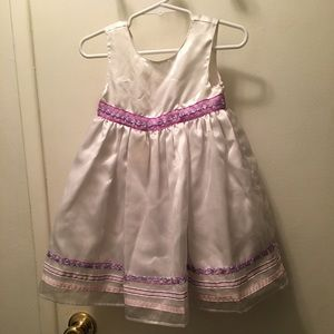 Satin White and Lavender Floral Dress