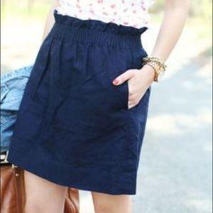 J Crew 'Citi Mini' Linen Skirt, Navy Blue