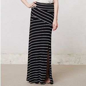 Bordeaux black and white striped maxi skirt