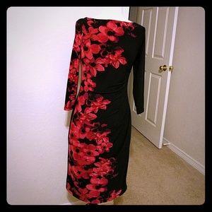 Sexy Dark Fuscia Floral and Contrast BodyCon Dress