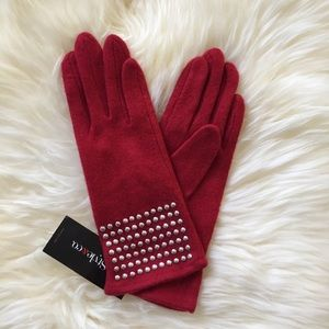 NWT Style & Co Studded Red Knit Gloves