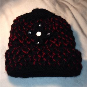 Women's Red/Black Knitted Winter Hat / Cap