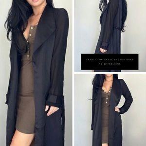 ❥ Ekattire Black Tie Trench Coat