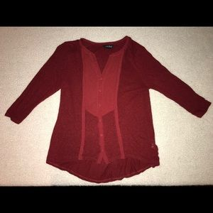 Lucky Brand Red Holiday Blouse Size Small