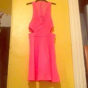 Hot pink cut out skater dress