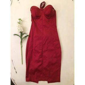 Satin red bodycon dress