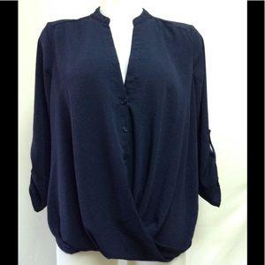 Lush Women's Blouse Navy Blue