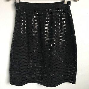 ✨ST. JOHN✨ Unique Black High Shine Bodycon Skirt