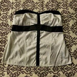 White and Black Corset Top