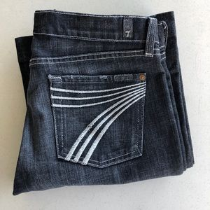 7FAM Black Denim Flare Dojo Jeans White Stitch 29