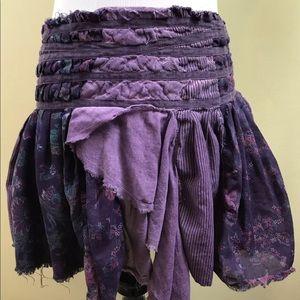 Free People BOHO skirt, Size Medium, Purple, patch