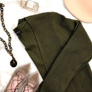 Olive Chunky Open Longline Cardigan