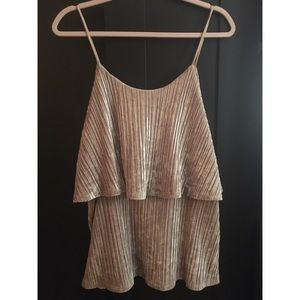 Chic Nude Velvet Tank Pleated Layered Top