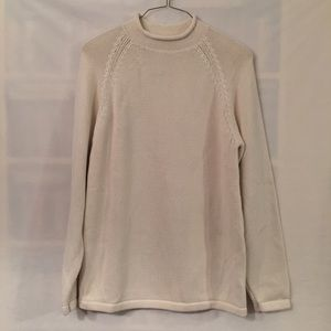 J. Crew large tall cream roll neck cotton sweater