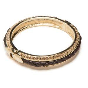 Jewelmint BRAIDED BANGLE Bracelet Pave Gold Tone