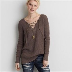AEO Pirate / Poet Sexy Lace up Sweater