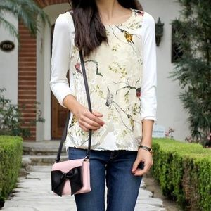 • anthropologie • floral velvet gossamer bird top