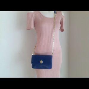 New Tory Burch Shoulder blue leather bag NWT
