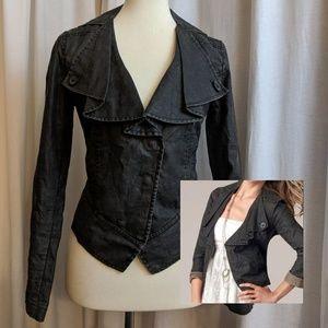 CAbi Waxed Linen Moto ruffle jacket! 🏍️