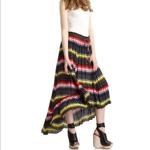 Free People Pleated Striped Boho Maxi Hi Low Skirt