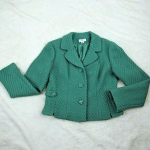 LOFT Green Tweed Blazer Jacket lined