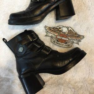Trendy Chunky Heel Harley Davidson Boots