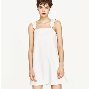 zara white leather dress