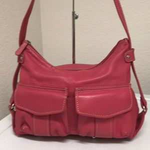 Fossil pink pebble leather satchel bag