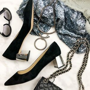 Black Suede Pointed Toe Metallic Block Heel Pumps