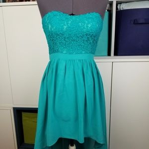 Teal strapless high-low dress