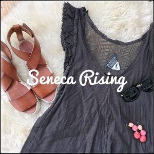 Seneca Rising Grey Flutter Sleeve Top