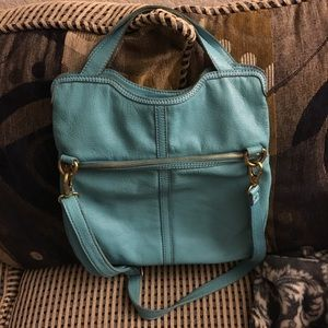 Fossil leather teal purse
