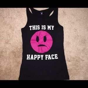 """Cute """"This is My Happy Face"""" tank top NWOT blk"""