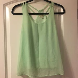Lime strappy back tank top size S