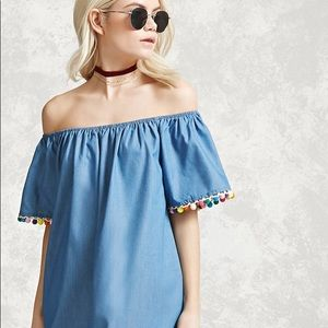 Forever 21 Pom Pom Chambry Dress