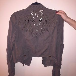 Free People Jacket with Leaves Cut Out
