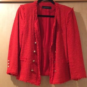 Zara - red tweed jacket, size Large