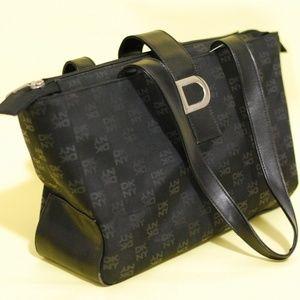 "DKNY Leather Small Satchel Black Handbag 7"" tall"