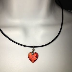 Crystal Pendant on Leather Cord Necklace NWT