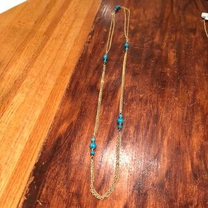 """Gold and faux turquoise 54"""" necklace, Emmons brand"""