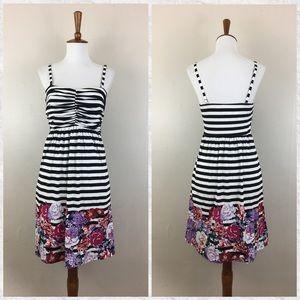 Soma Striped Floral Shirred Bandeau Dress